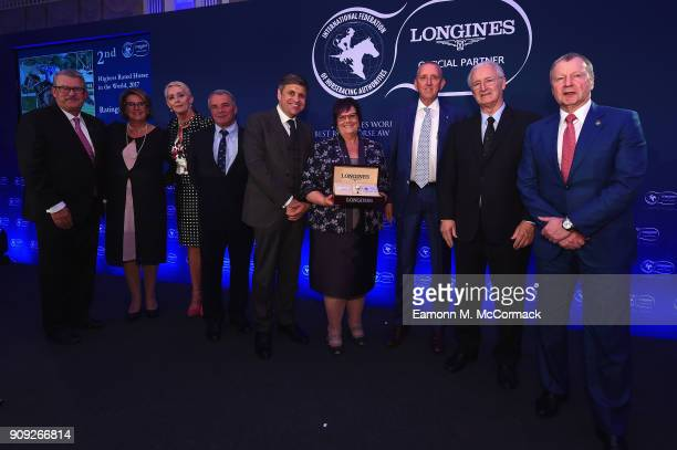 Owners of Winx receive the Second prize for The Longines World's Best Racehorse Award from Mr JuanCarlos Capelli Vice President of Longines and Head...