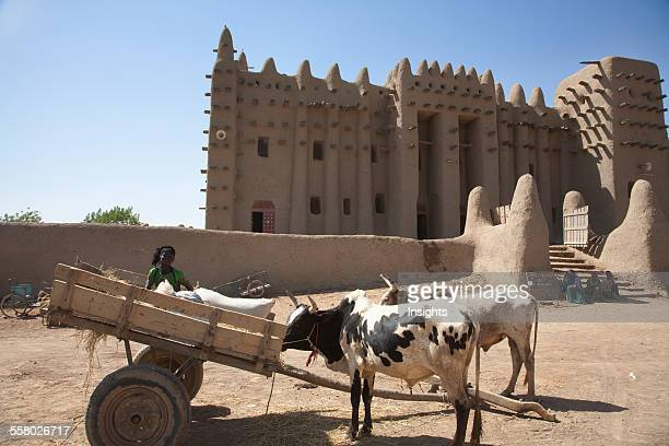 Ox cart in front of the Grand Mosque Djenne Mali
