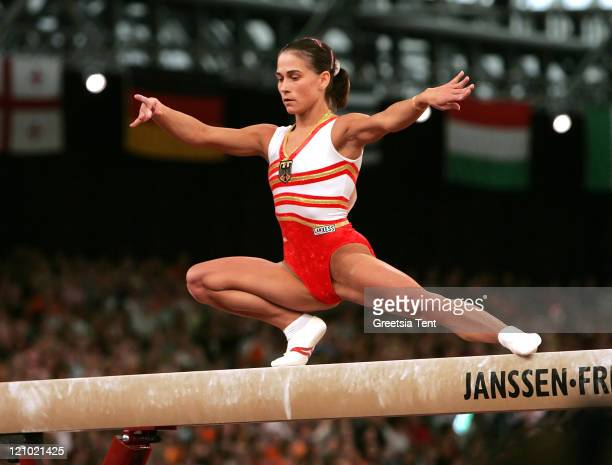 Oxana Chusovitina on the beam during the 2007 European Women Artistic Gymnastics Championships in Amsterdam Netherlands on April 28 2007