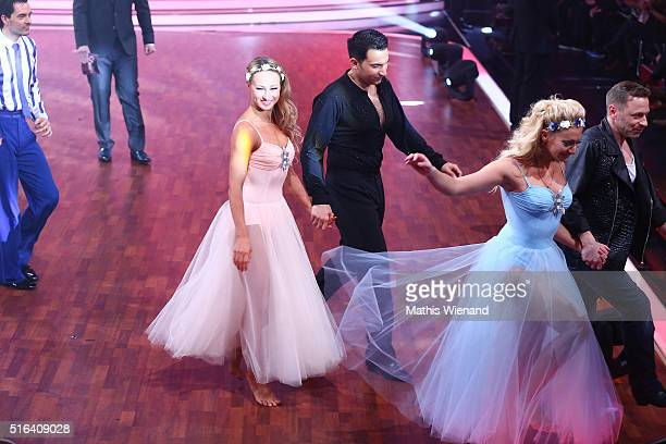 Oxana Lebedew and Attila Hildmann perform on stage during the 2nd show of the television competition 'Let's Dance' on March 18 2016 in Cologne Germany