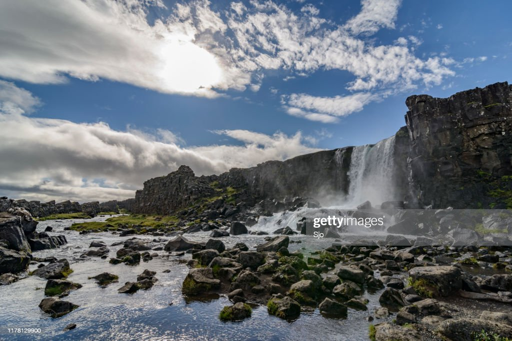 Oxarar river in Thingvellir National Park, Iceland : Stock Photo