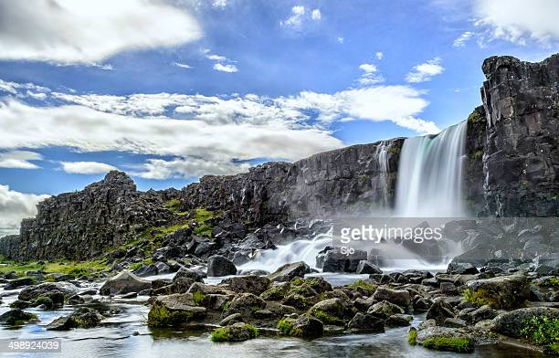 oxararfoss in iceland - pingvellir national park stock photos and pictures