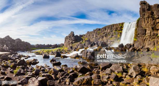 oxararfoss waterfall at thingvellir national park, iceland - pingvellir national park stock photos and pictures