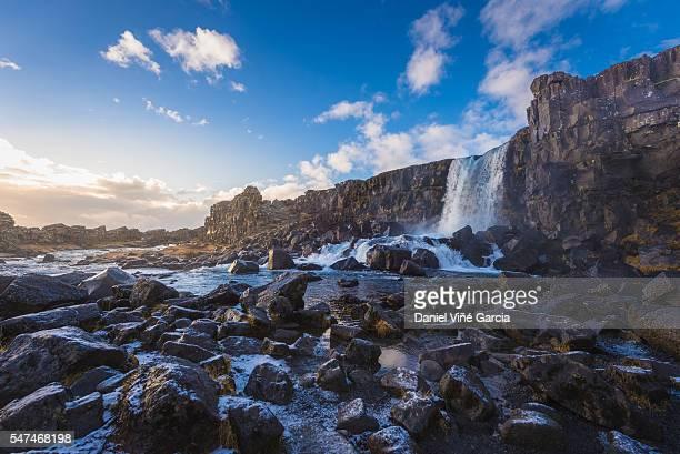 oxararfoss waterfall in thingvellir, iceland - pingvellir national park stock photos and pictures