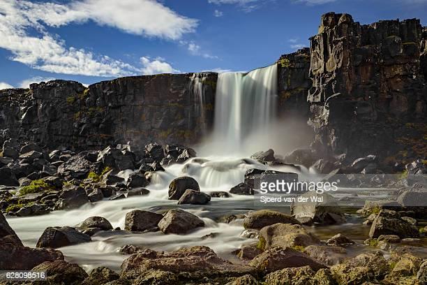 "oxararfoss waterfall in thingvellir (þingvellir) national park, iceland. - ""sjoerd van der wal"" stock pictures, royalty-free photos & images"