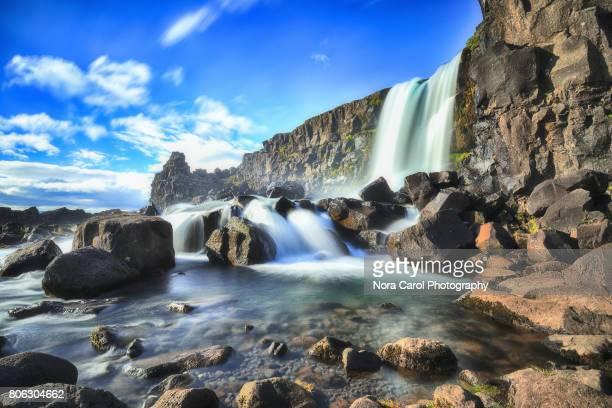 oxararfoss waterfall - pingvellir national park stock photos and pictures