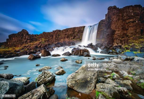 oxararfoss waterfall, thingvellir national park, iceland - pingvellir national park stock photos and pictures