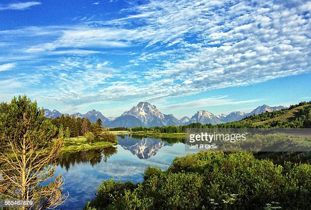 oxbow bend clouds - jackson hole stock pictures, royalty-free photos & images