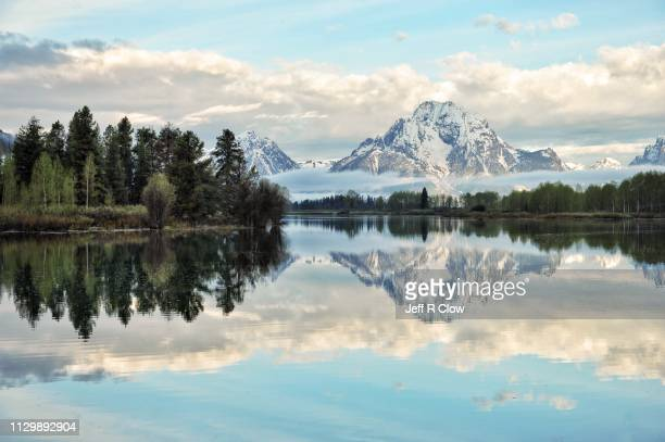 oxbow bend reflection in the early morning - jackson hole stock pictures, royalty-free photos & images