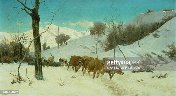 Oxen dragging a log 18751880 by Stefano Bruzzi oil on canvas 55x99 cm