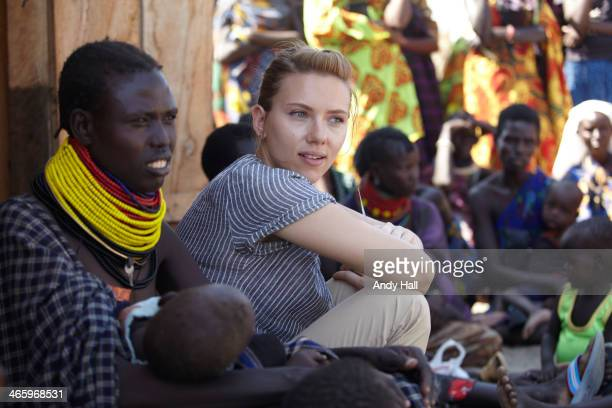 Oxfam Ambassador Scarlett Johansson visits beneficiaries of Oxfam's 'cash disbursement through traders' programme on September 23 2011 in Kakito...