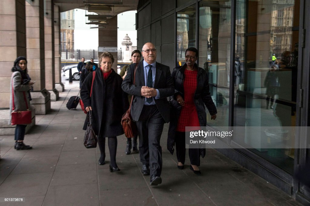 Oxfam CEO Mark Goldring (centre), Oxfam Chair of Trustees (left) and Executive Director of Oxfam, Winnie Byanyima, (right) arrive to face a select committee hearing at Portcullis House on February 20, 2018 in London, England.