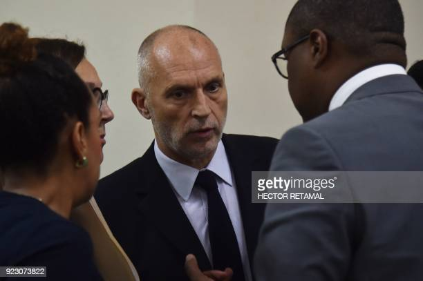 Oxfam Regional Director for Latin America and the Caribbean Simon Ticehurst speaks after a meeting with the Minister of Planning and External...