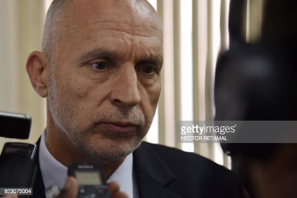 Oxfam Regional Director for Latin America and the Caribbean Simon Ticehurst speaks to media after a meeting with the Minister of Planning and...