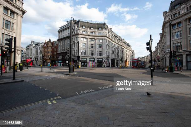 Oxford Circus intersection remains very quiet during what would usually be a busy time of day on April 03 2020 in London United Kingdom The...