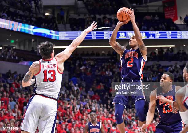 Auburn Tigers guard Bryce Brown takes a shot over a Mississippi Rebels defender during the first half of a college basketball game at The Pavilion in...