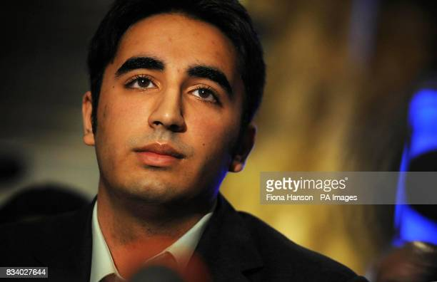 Oxford law student Bilawal Bhutto Zardari son of the former Pakistan Prime Minister Benazir Bhutto speaks at a press conference in a central London...