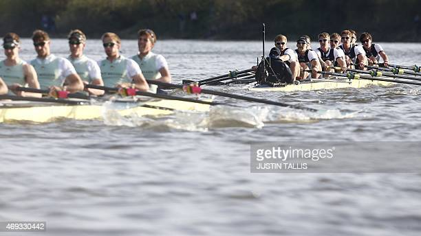 Oxford lead Cambridge in the boat race between Oxford university and Cambridge university on April 11 2015 in London TALLIS