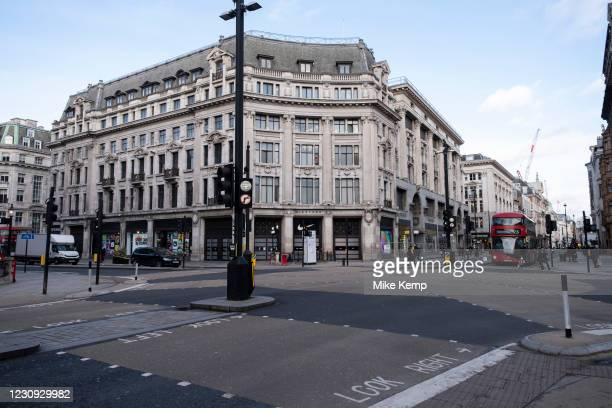 Oxford Street at Oxford Circus empty of shoppers as the national coronavirus lockdown three continues on 28th January 2021 in London, United Kingdom....