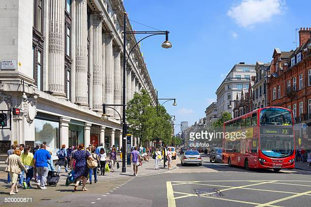 oxford street in central london, united kingdom - selfridges stock photos and pictures