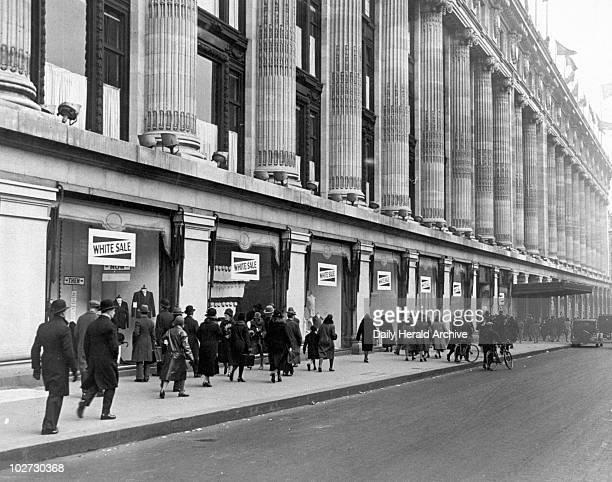 Oxford Street London 10 Feb 1930 People walking outside Selfridge's Oxford Street London 10 Feb 1930