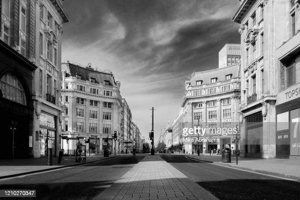 Image has been converted to black and white.) Oxford Street, one of the main shopping areas is deserted due to lockdown as a result of the...