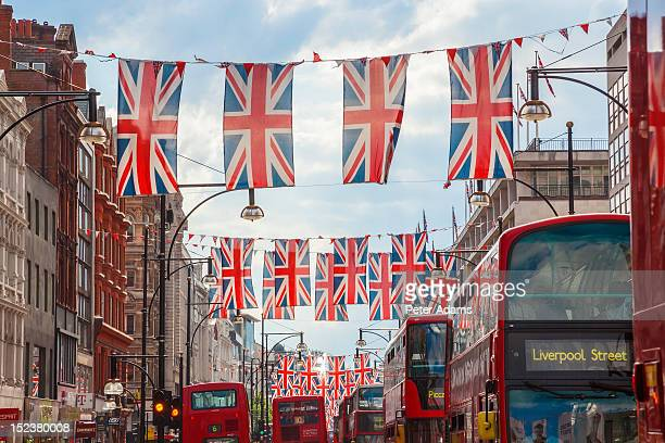 Oxford Street, Union Jack Flags Buses, London, UK
