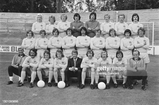 Oxford United FC, a League Division 2 team at the start of the 1973-74 football season, UK, August 1973. From left to right, they are Dave Roberts,...