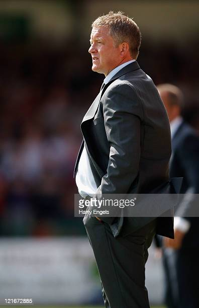 Oxford United manager Chris Wilder stands on the sidelines during the npower League Two match between Swindon Town FC and Oxford United at the County...