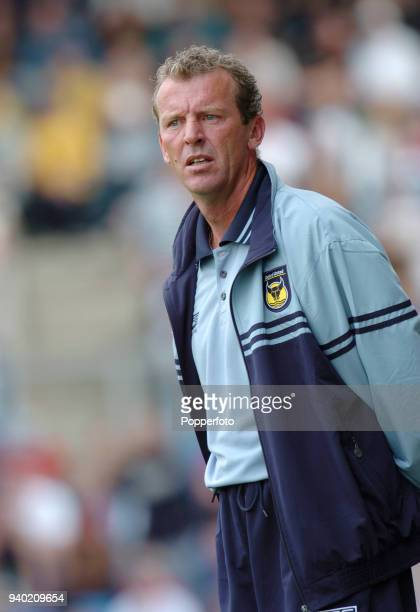 Oxford United manager Graham Rix looks on from the touchline during the Preseason Friendly match between Oxford United and Chelsea at the Kassam...