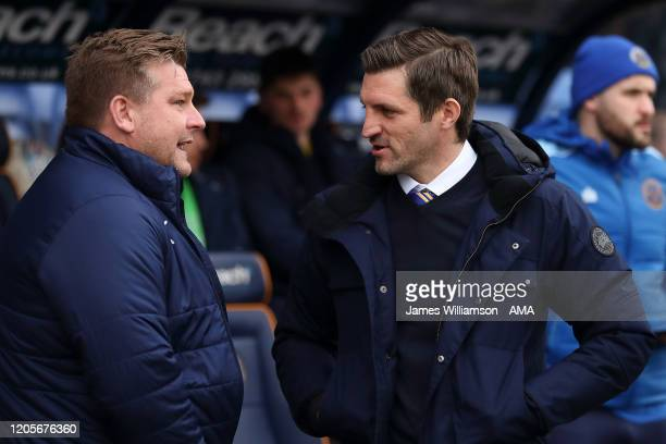 Oxford United manager / head coach Karl Robinson and Shrewsbury Town manager / head coach Sam Ricketts during the Sky Bet League One match between...