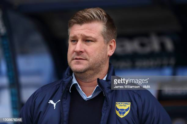 Oxford United manager / head coach Karl Robinson during the Sky Bet League One match between Shrewsbury Town and Oxford United at Montgomery Waters...