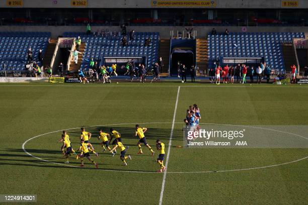 Oxford United players celebrate winning 54 in a penalty shootout at the Sky Bet League One Play Off Semifinal 2nd Leg match between Oxford United and...
