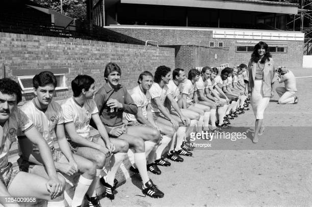 Oxford United show off their brand new strip with a photocall at The Manor Ground Oxford 6th July 1984 22yearold Ghislaine Maxwell a director at the...