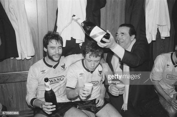 Oxford United v Aston Villa League Cup semi final 2nd leg match at Manor Park March 1986 Pictured Robert Maxwell Chairman Final score Oxford United...
