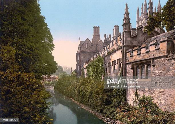 Oxford university Magdalen College from the river Oxford England 1900
