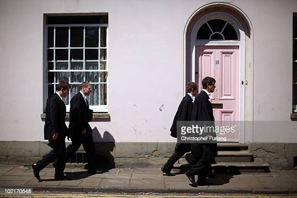 Oxford University students make their way to the Exam Schools building to take examinations on June 17 2010 in Oxford England During June almost...
