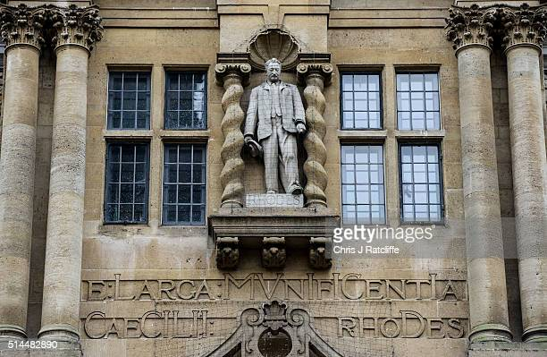 Oxford University's Oriel College with a statue of Cecil Rhodes on the second floor above the door - as students take to the streets to protest about...