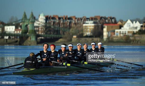 Oxford's 'Boudicca' crew in action on their way to victory over 'Cleopatra' during the Women's University Boat Race Trial 8's race on The River...