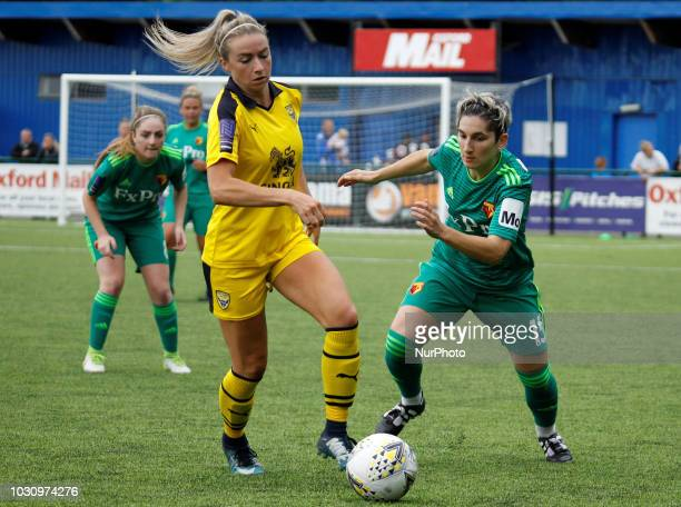 Oxford's Emily Allen and Watford's Andrea Carid during FA Women's National League South match between Oxford United Women and Watford FC Ladies at...