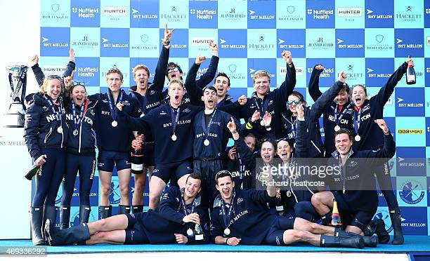 Oxford's Men's and Women's blue boats celebrate victory after the BNY Mellon University Boat Race and the Newton Women's Boat Race on The River...