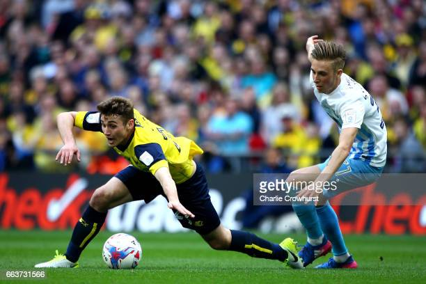 Oxford's Ryan Ledson is tripped by Coventry's Ben Stevenson during the EFL Checkatrade Trophy Final between Coventry City and Oxford United at...