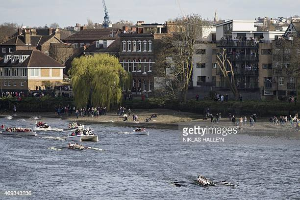 Oxford's women's crew lead Cambridge during the boat race between Oxford university and Cambridge university on April 11 2015 in London History will...