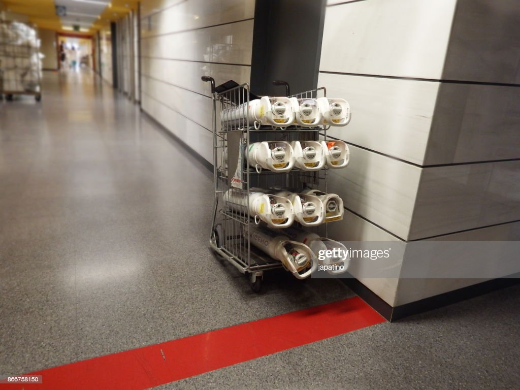Oxygen bottles for supply in a hospital : Stock Photo