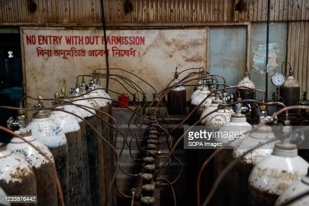 Oxygen cylinders inside the oxygen factory amid a countrywide lockdown in Dhaka. Demand for oxygen is increasing day by day during the covid-19...