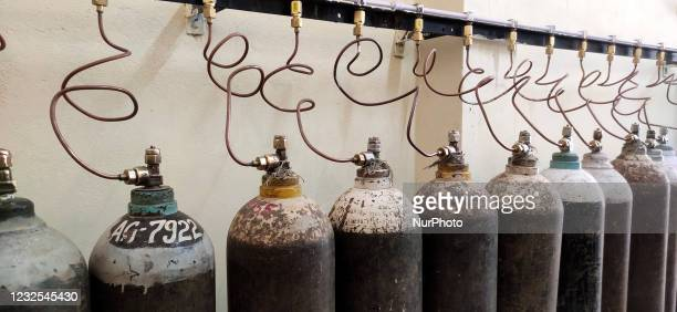 Oxygen cylinders used for Covid-19 coronavirus patients at a facility in Jawaharlal Nehru Hospital in Ajmer, Rajasthan, India on April 26, 2021.