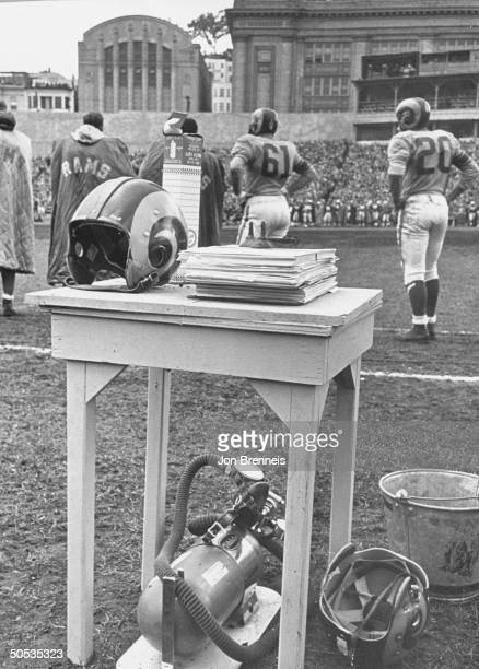 Oxygen inhalator sitting on the sidelines during a Los Angeles Rams game