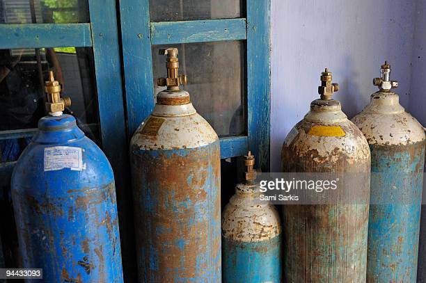 Oxygen tanks at arural hospital, Vietnam