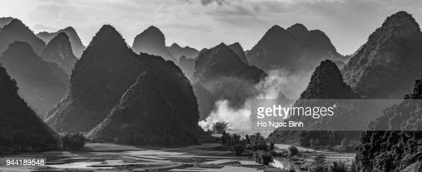 oyalty high quality free stock image of sunset and  mountains, river and rice field at Trung Khanh town, Cao Bang province, Vietnam.