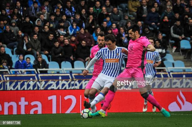 Oyarzabal of Real Sociedad duels for the ball during the Spanish league football match between Real Sociedad and Levante at the Anoeta Stadium on 18...